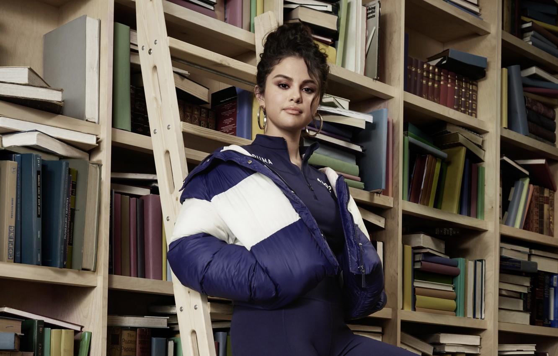 Photo wallpaper look, pose, model, books, makeup, actress, jacket, singer, model, Selena Gomez, hair, look, pose, actress, …