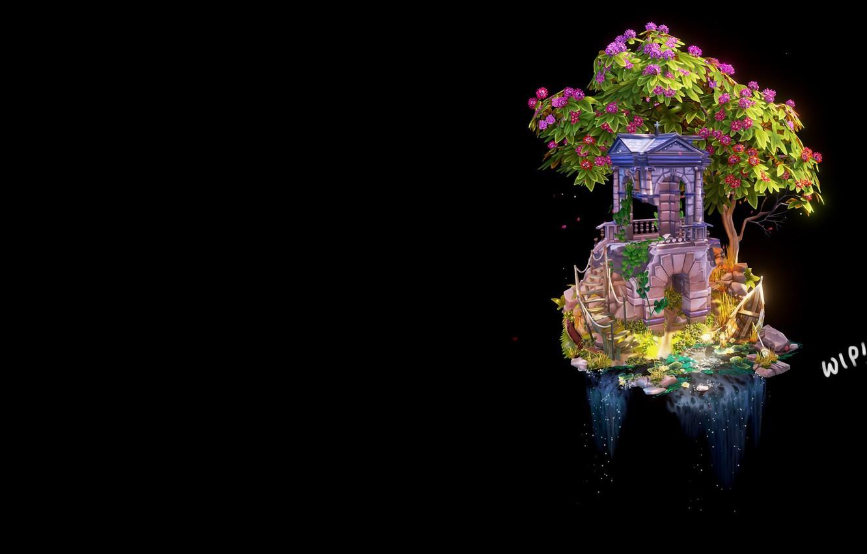 Photo wallpaper tree, waterfall, fantasy, art, WIP- Step by Step 'Abandoned Building', Anya Jo Elvidge