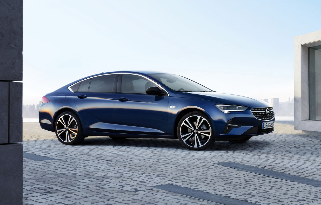 Photo wallpaper blue, Insignia, Opel, sedan, side, 2020, Insignia Grand Sport