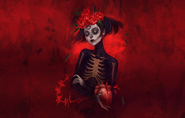 Photo wallpaper Girl, Style, Calavera, Illustration, Day of the Dead, Day of the Dead, Sugar Skull, Katrina, …