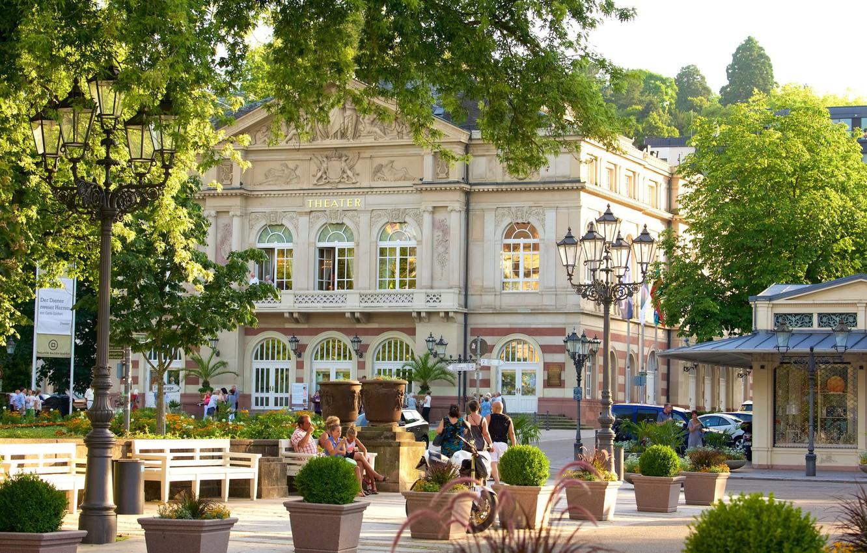 Photo wallpaper street, the building, Germany, lights, theatre, Baden-Baden