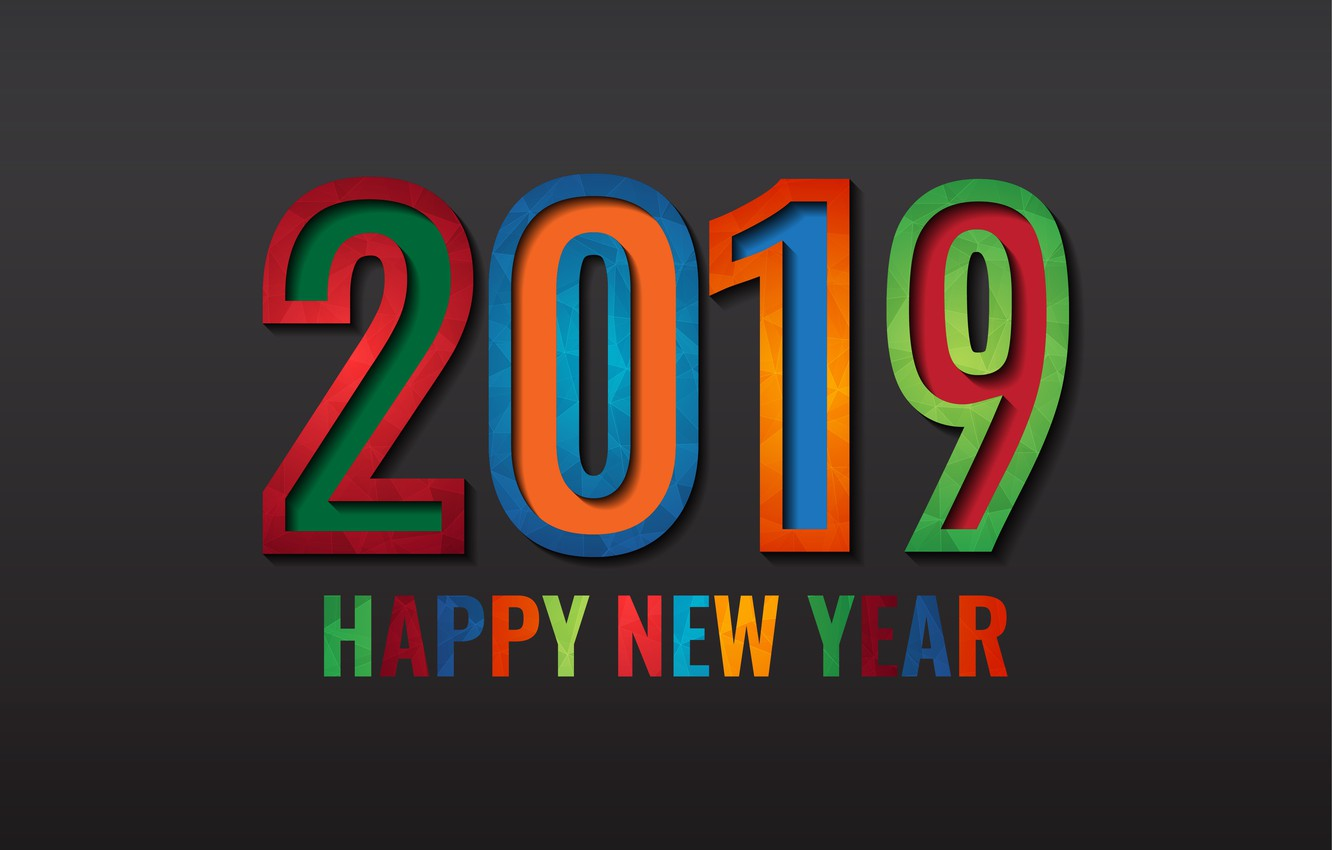 Photo wallpaper colorful, New Year, figures, black background, black, background, New Year, Happy, 2019