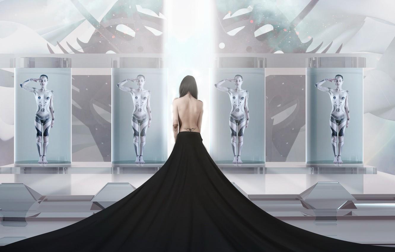 Photo wallpaper girl, back, ray, Robot, tattoo