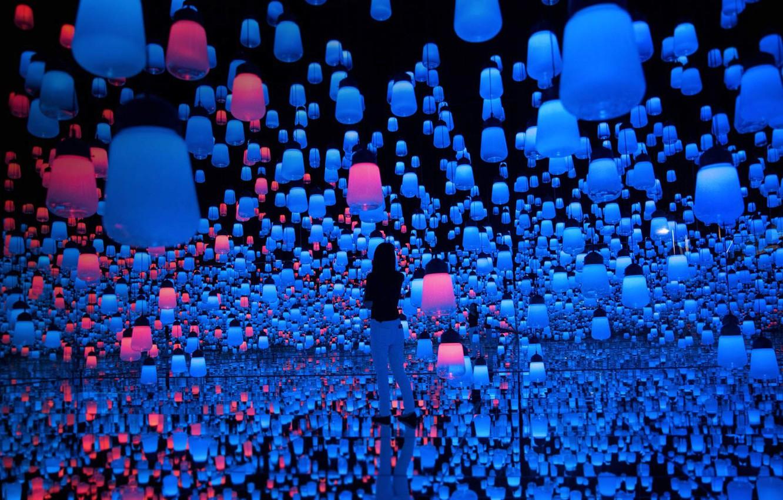 Photo wallpaper Japan, Tokyo, lanterns, Mori Building Digital Art Museum