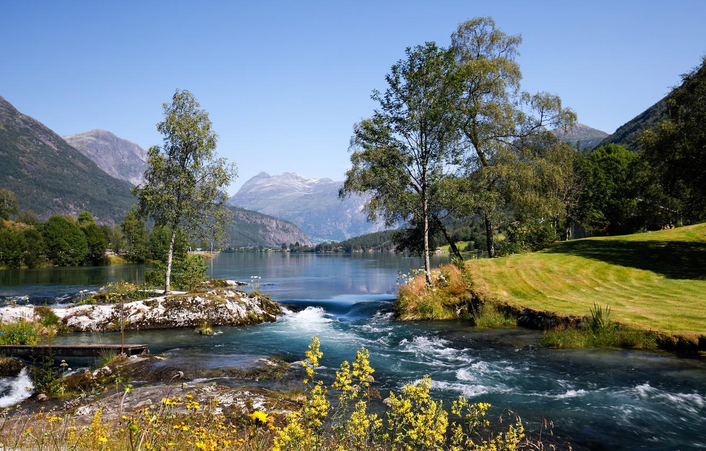 Photo wallpaper trees, mountains, lake, Norway, Norway, Stryn, Nordfjord, Stryn, The nordfjord