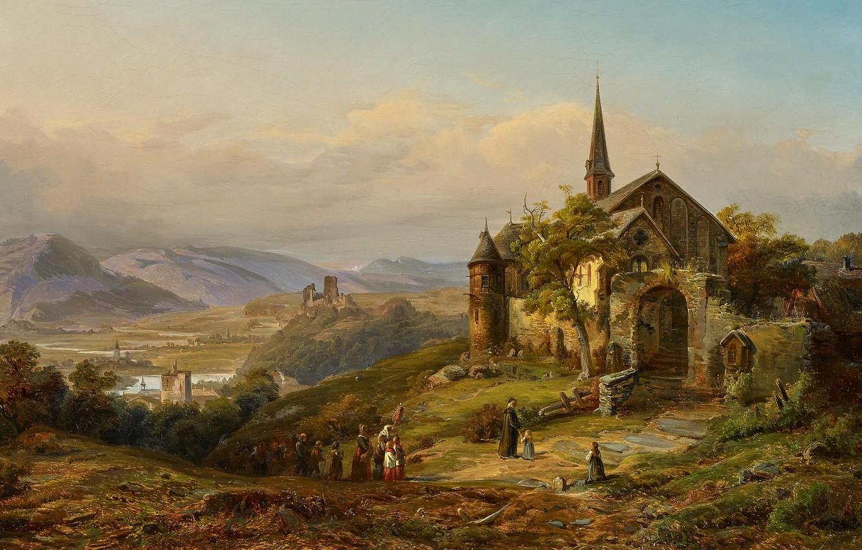 Photo wallpaper German painter, German painter, oil on canvas, Peter Joseph Minjon, Romantic Rhine Landscape, Romantic Rhine …