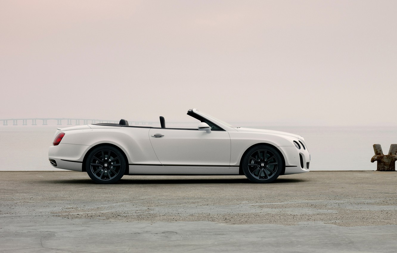 Photo wallpaper white, shore, Bentley, convertible, 2010, in profile, Continental Supersports Convertible