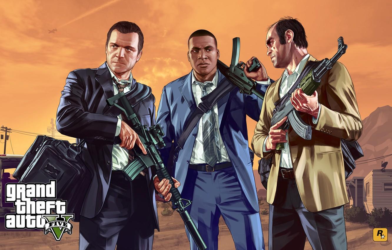 Photo wallpaper costume, the bandits, bag, AK-47, machines, Rockstar, gta, Grand Theft Auto V, GTA V, gta …