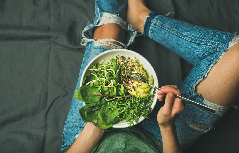 Photo wallpaper woman, jeans, salad