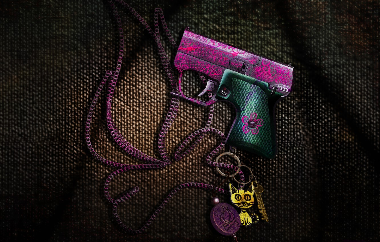 Photo wallpaper the storm, game, gun, weapons, pink, children, the fire, art, USSR, chain, fabric, emo, game, …