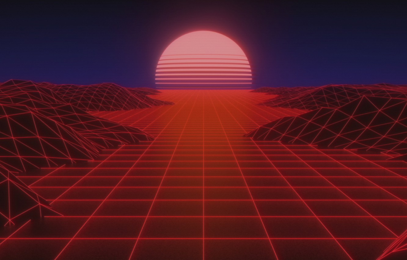Wallpaper The sun, Music, Background, 80s, Neon, Rendering