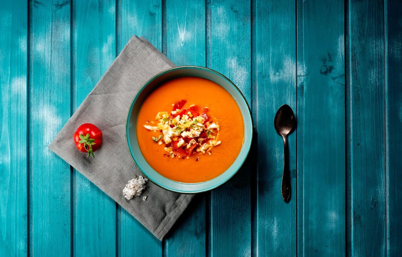 Photo wallpaper plate, spoon, soup, tomato