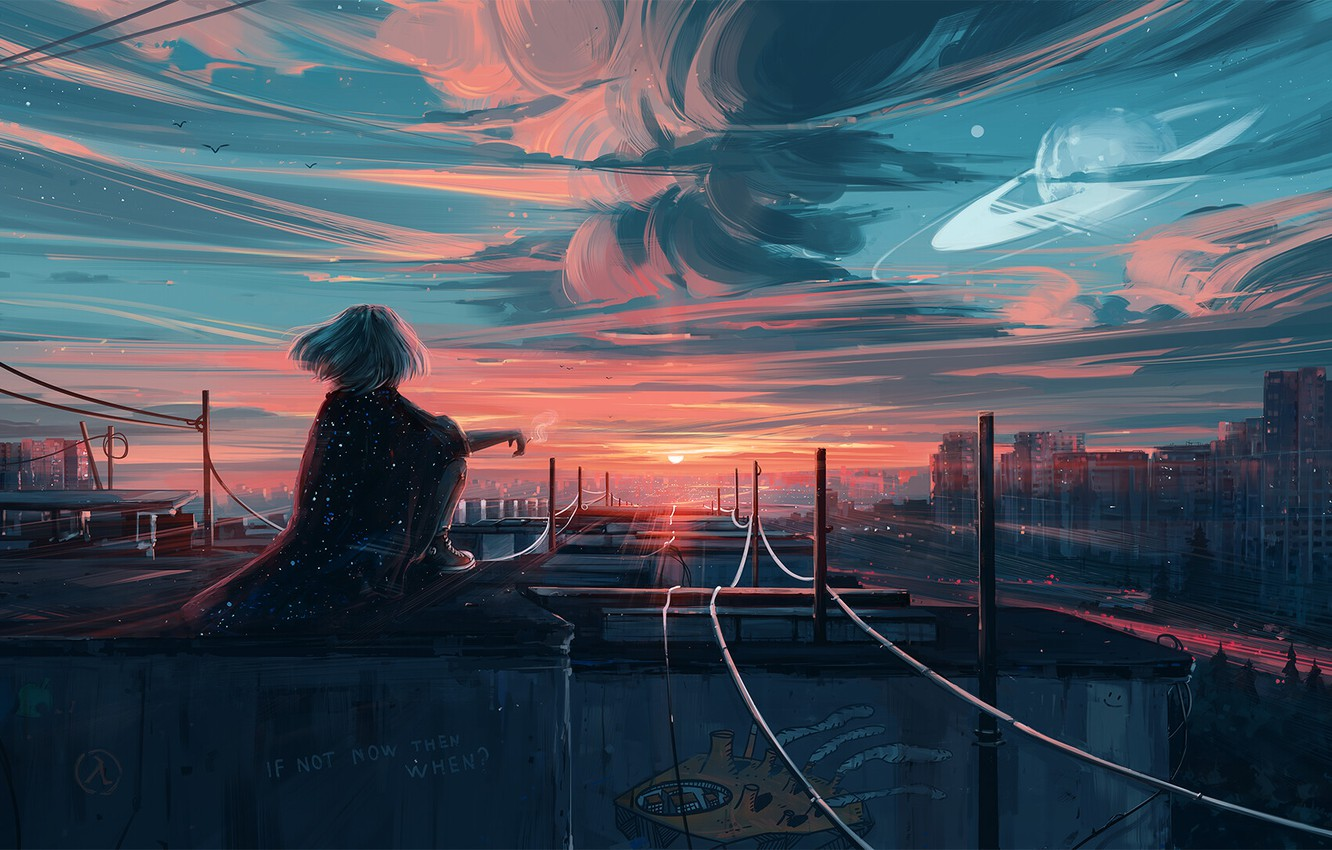 Photo wallpaper the sky, girl, the city, hair, back, view, rails, art, Aenami, by Aenami, Alena Aenam …