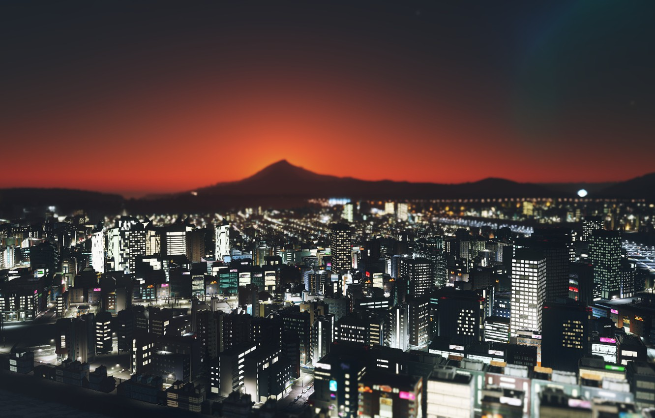 Photo wallpaper landscape, night, the city, cities skylines