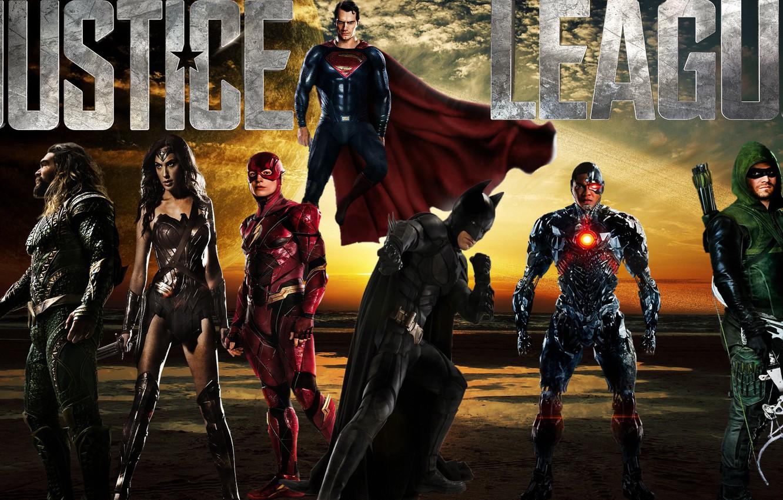 Photo wallpaper Wonder Woman, Batman, Superman, Green Arrow, Arrow, Cyborg, Flash, Aquaman, Justice League, Justice League