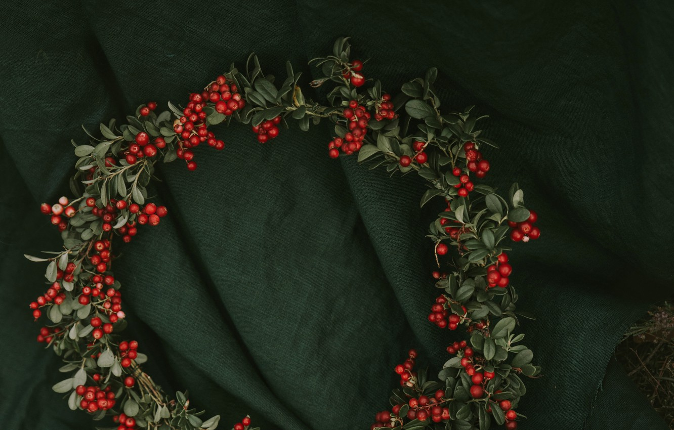 Photo wallpaper leaves, berries, red, fabric, material, wreath, bunches, cranberries