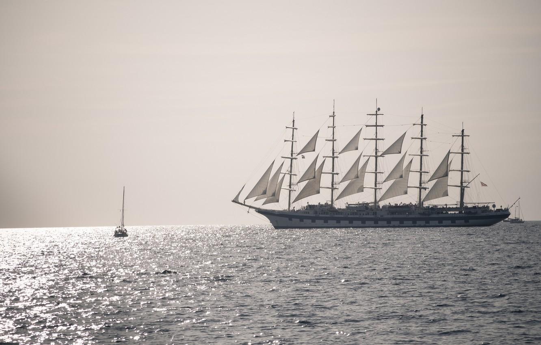 Photo wallpaper sea, ship, sailboat