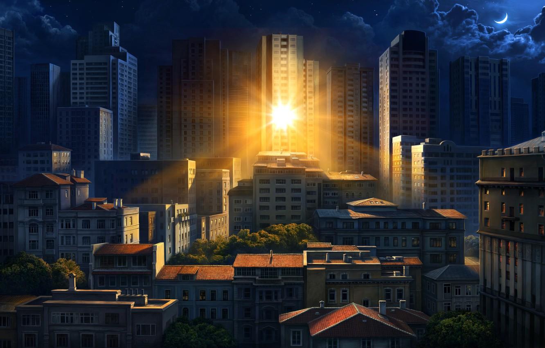 Photo wallpaper the sun, the city, reflection, morning, art, Olga Antonenko, Illustration for Philips Hue Go Ilan …