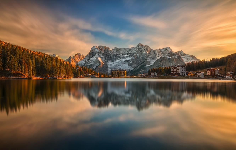 Photo wallpaper autumn, landscape, sunset, mountains, nature, lake, reflection, village, Italy, forest, The Dolomites, Misurina, Misurina