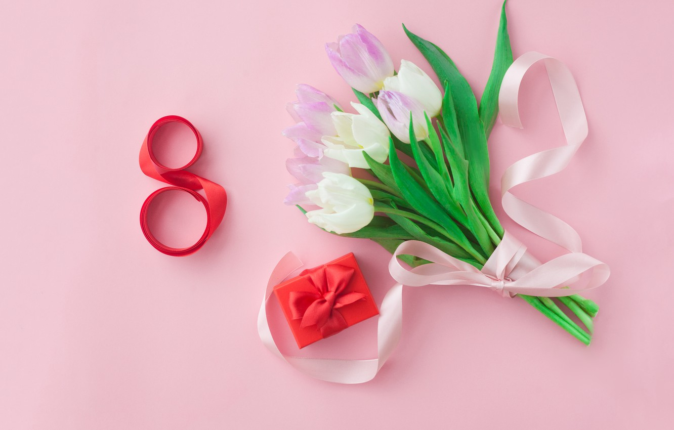 Photo wallpaper holiday, gift, bouquet, tulips, March 8