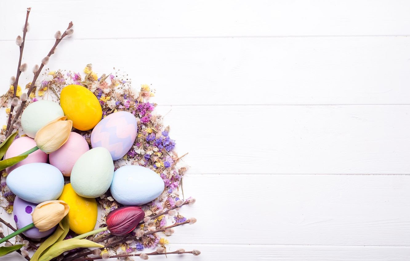 Photo wallpaper flowers, eggs, Easter, happy, wood, flowers, eggs, easter, decoration