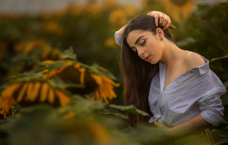 Photo wallpaper girl, sunflowers, pose, hands, shoulder, bokeh, Alex Darash, Light Mishiev Was