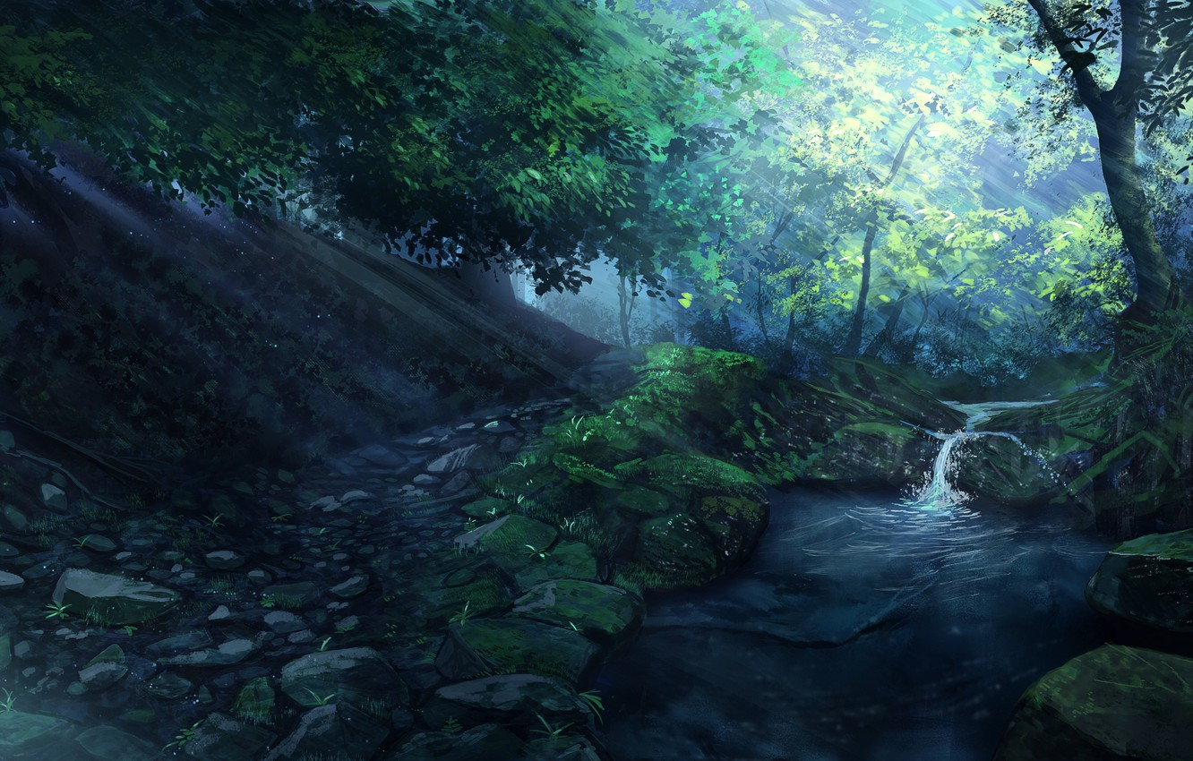 Photo wallpaper forest, water, landscape, nature