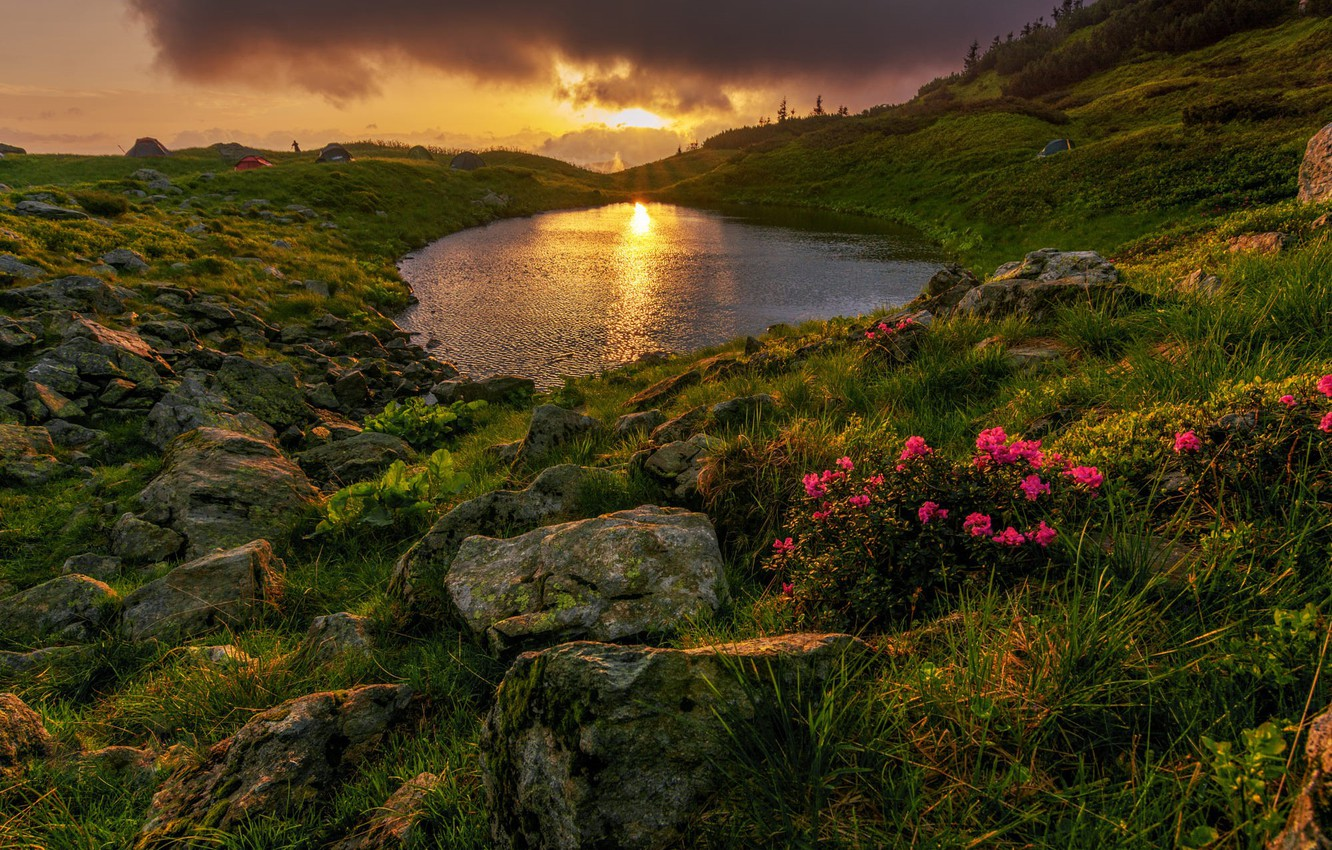 Photo wallpaper the sun, pond, stones, hills