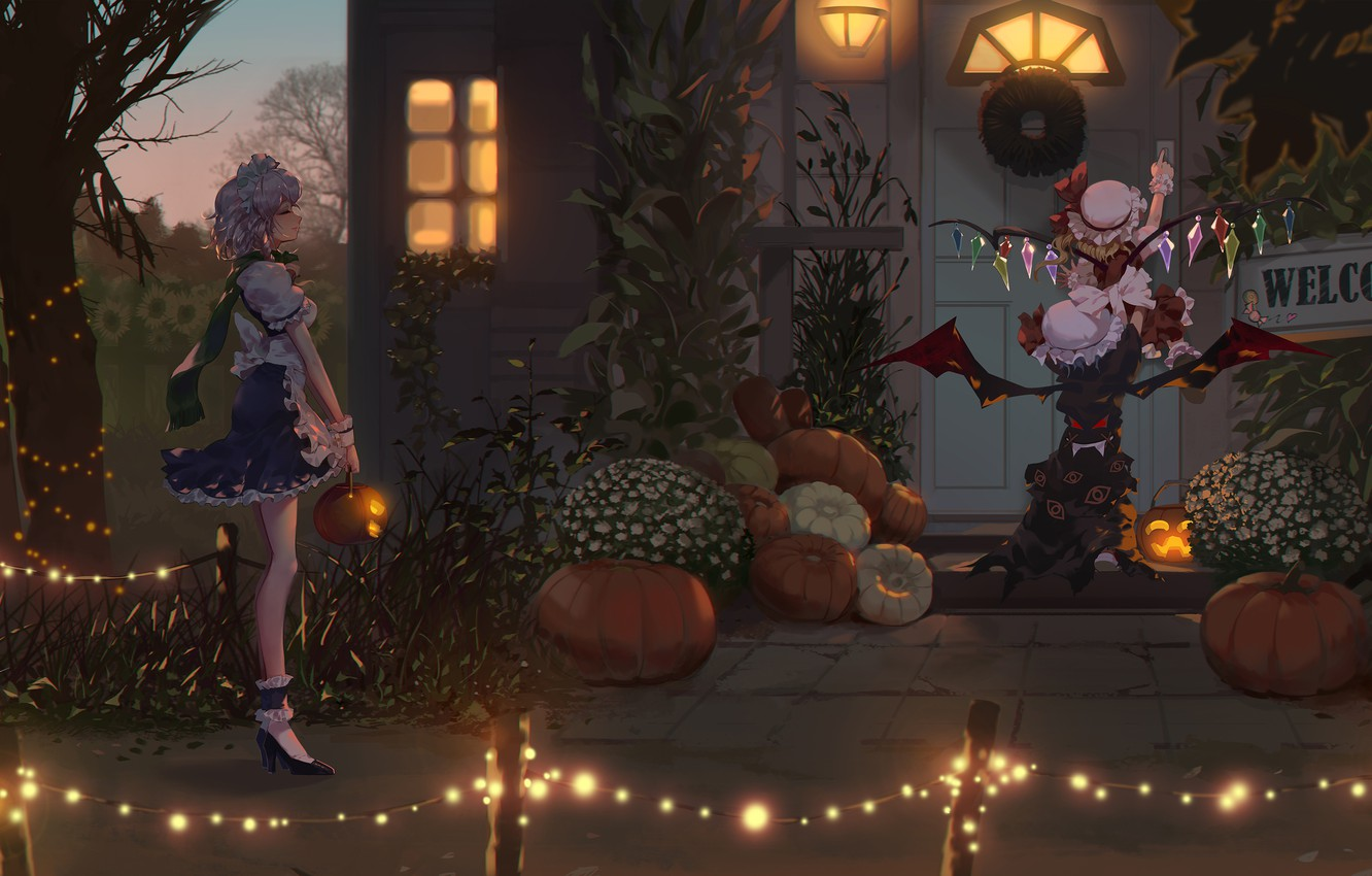 Photo wallpaper Halloween, Anime, Izayoi Sakuya, Touhou Project, Remilia Scarlet, Flandre Scarlet
