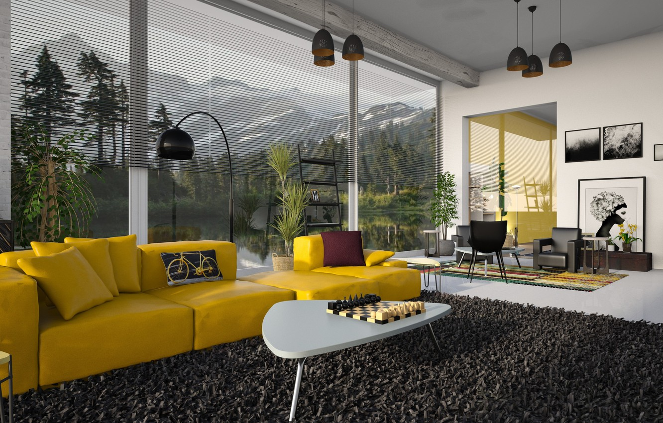 Photo wallpaper room, sofa, Windows, interior, carpet, pillow, chess, chairs, pictures, floor lamp, table, living room, chandeliers