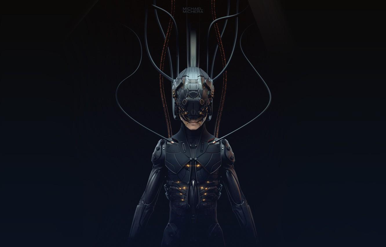 Photo wallpaper Robot, Fiction, Cyborg, Concept Art, Cyberpunk, 2077, by MICHAEL MICHERA, MICHAEL MICHERA, Cybrog, ZSummit Sculpt, …