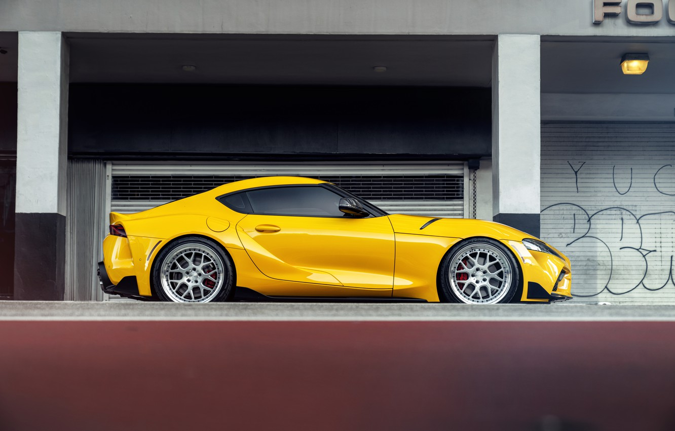 Photo wallpaper yellow, sports car, side view, Toyota Supra, 2020 Toyota GR Above