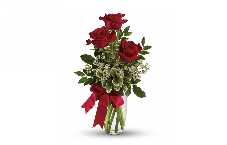 Photo wallpaper roses, bouquet, vase, bow