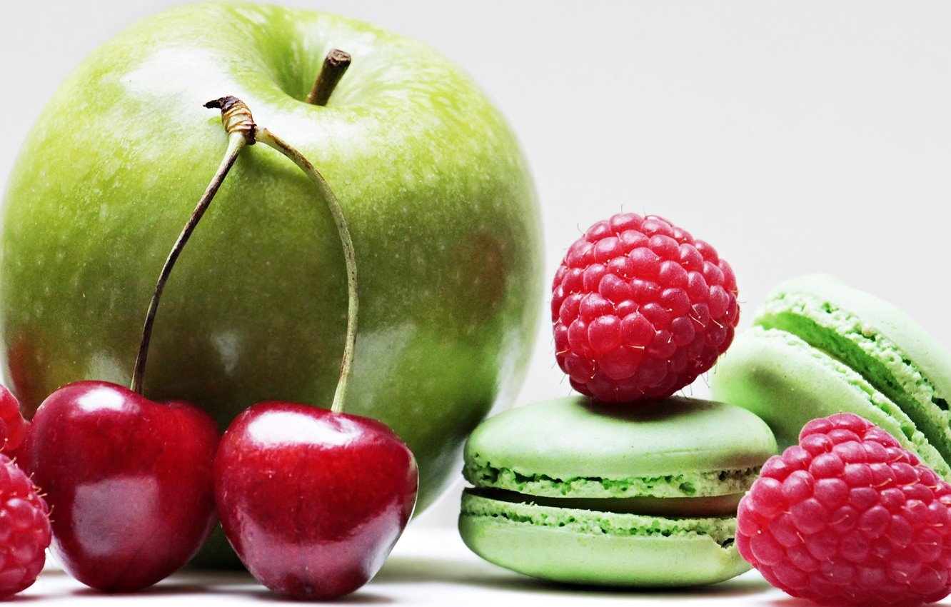 Photo wallpaper cherry, raspberry, apple, Apple, macarons