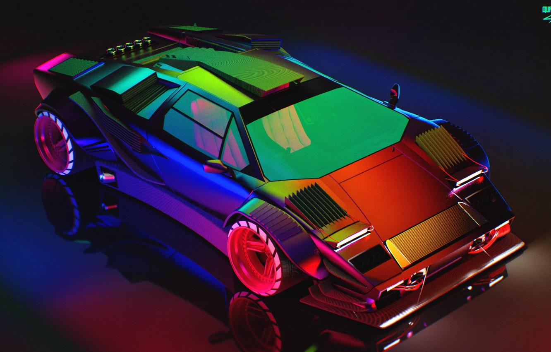 Photo wallpaper Reflection, Auto, Lamborghini, Neon, Machine, Chameleon, Car, Art, Neon, Countach, Rendering, Concept Art, Lamborghini Countach, …