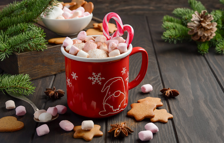Photo wallpaper decoration, New Year, Christmas, mug, Christmas, cup, New Year, cocoa, decoration, xmas, Merry, hot chocolate, …