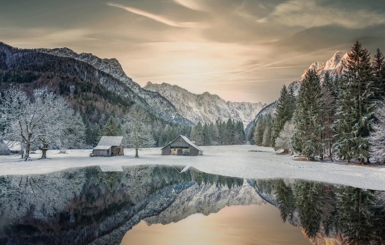 Photo wallpaper winter, snow, trees, mountains, lake, reflection, Slovenia, Slovenia, The Julian Alps, Julian Alps, Rateče, Rateče, …