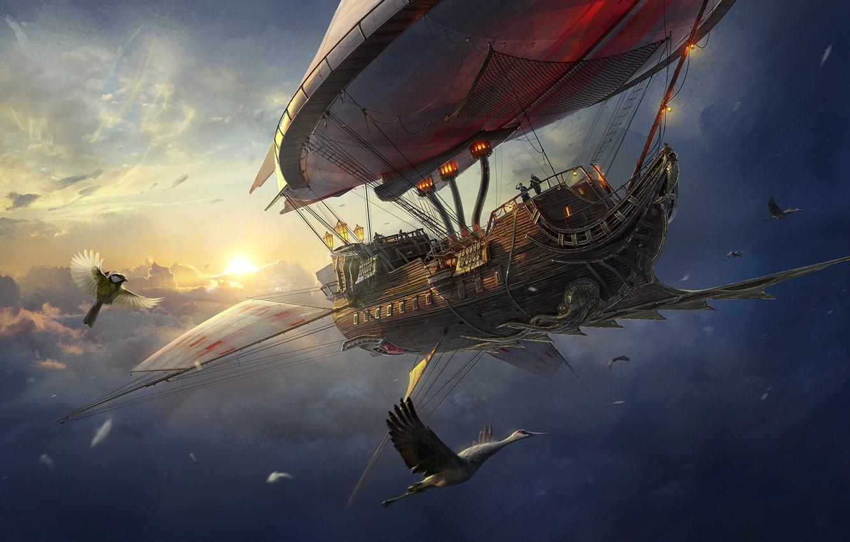 Photo wallpaper The sky, Clouds, Bird, Birds, Ship, The airship, Heaven, Pirate, Stork, Fantasy, Clouds, Sky, Birds, …