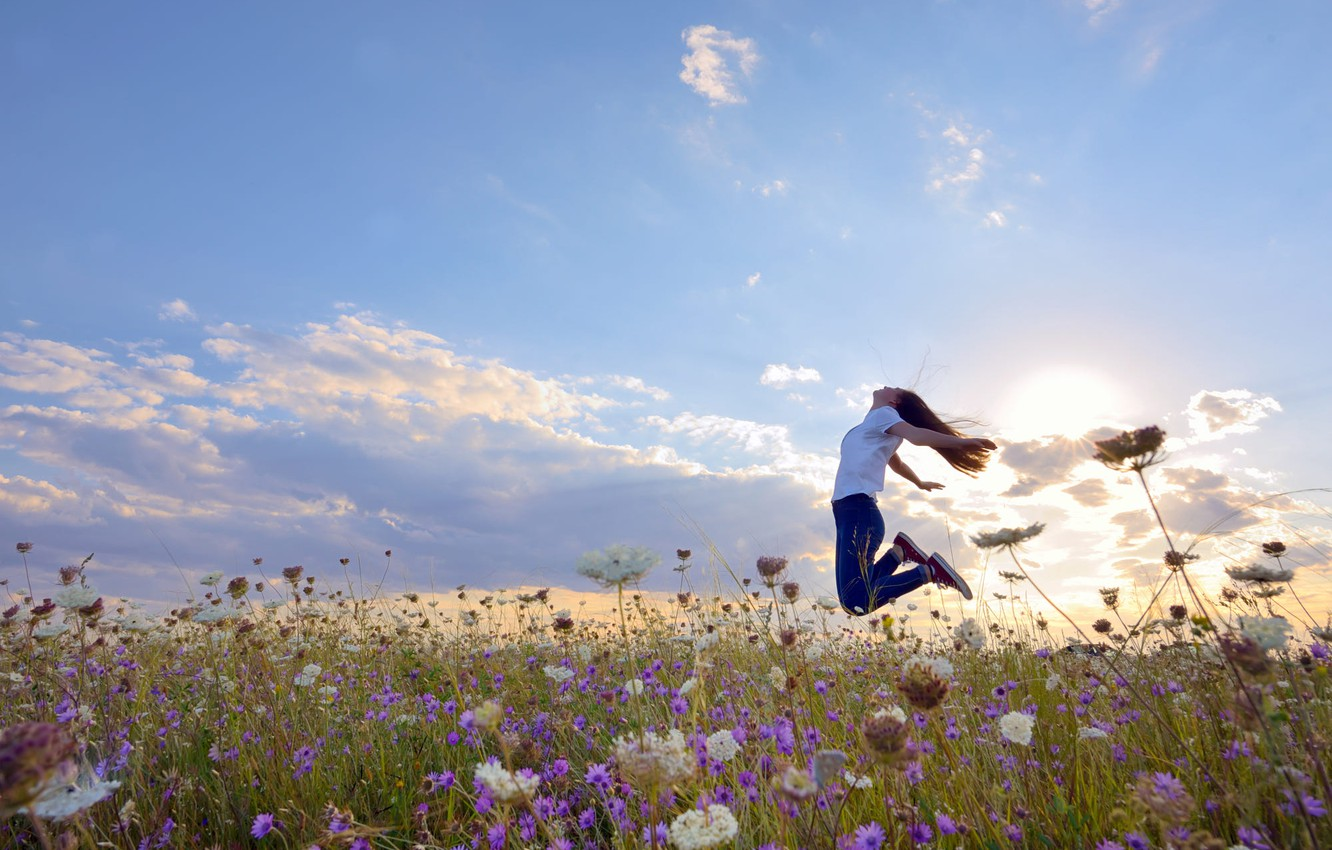 Photo wallpaper field, summer, the sky, girl, the sun, clouds, light, joy, happiness, flowers, pose, emotions, mood, …