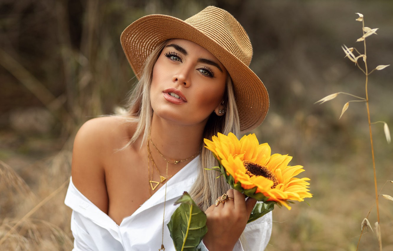 Photo wallpaper grass, girl, decoration, nature, sunflower, hat, makeup, blonde, blouse, shoulder, David Mas, DAVID MAS