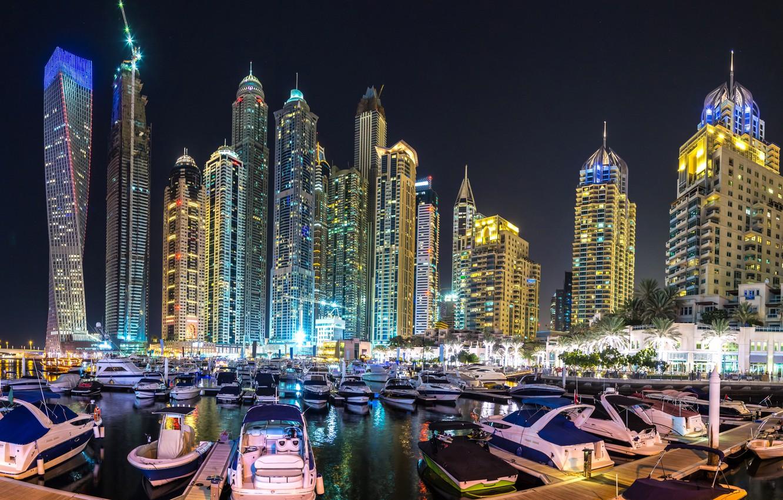 Photo wallpaper night, the city, skyscraper, panorama, Dubai, Dubai, Panorama