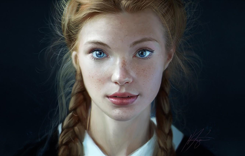 Photo wallpaper Girl, Look, Lips, Style, Face, Girl, Hair, Eyes, Portrait, Art, Beautiful, Art, Beauty, Style, Freckles, …