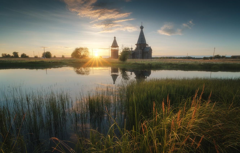 Photo wallpaper grass, the sun, rays, landscape, sunset, nature, lake, Church, Kenozerie, Arkhangelsk oblast, Rev Alex, Alex …