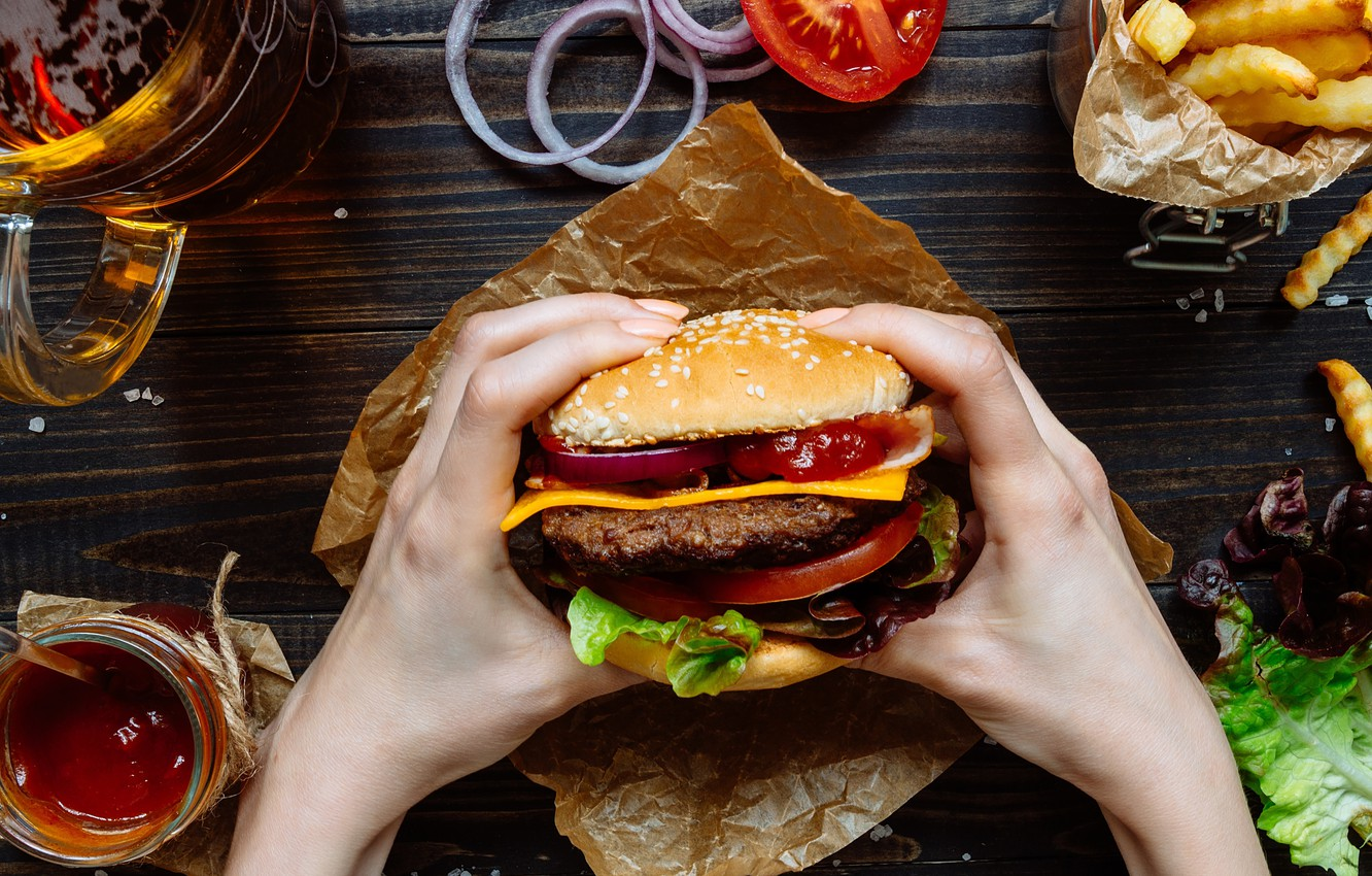Photo wallpaper cheese, bow, vegetables, Patty, ketchup, roll, sesame, fast food, Burger, fries