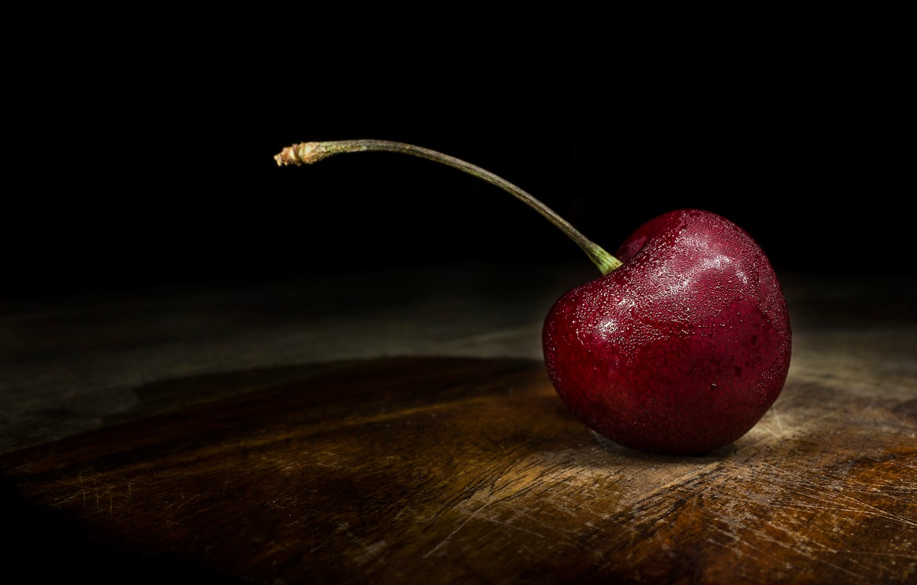 Photo wallpaper drops, macro, cherry, the dark background, table, Board, berry, lies, wooden, black background, one, cherry, …