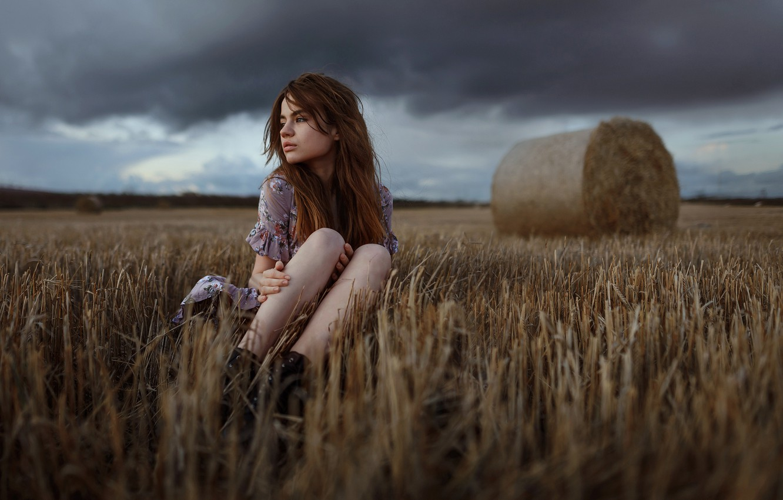 Photo wallpaper girl, clouds, Aleks Five