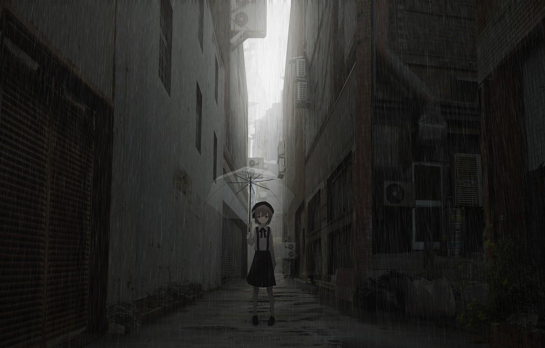 Photo wallpaper rain, the evening, umbrella, girl