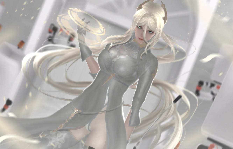 Photo wallpaper girl, rendering, dress, cyborg, nier, automata, YoRHa commander