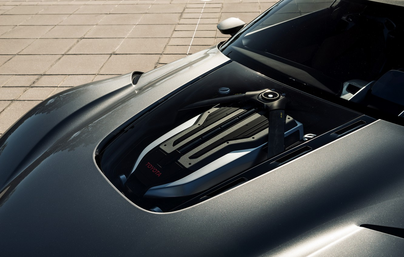 Photo wallpaper grey, engine, the hood, Toyota, 2014, graphite, FT-1 Concept