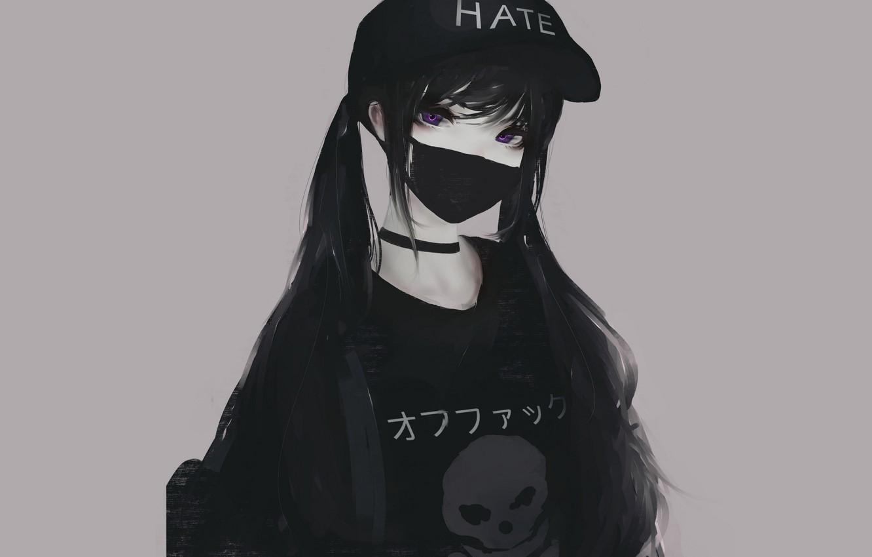 Photo wallpaper Girl, Art, Anime, Black, Urban, Style, Sake, Hate, Violet, Pretty, T-shirt, Drawing, Cap, Choker, Surgical …